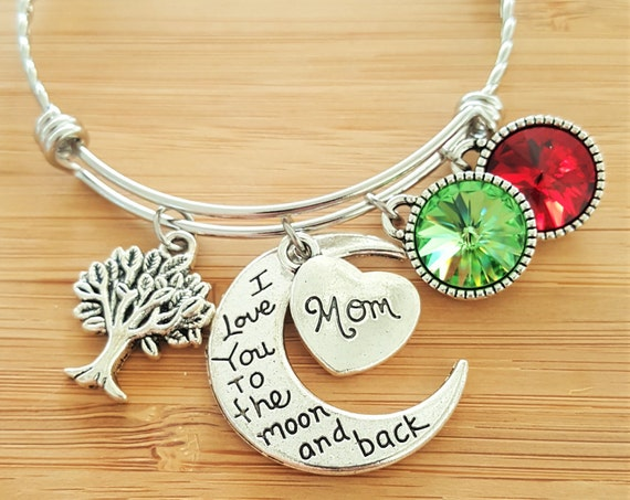 Mom Bracelet with Birthstones Grandma Bracelet with Birthstones Birthstone Bracelet Mom Gift Grandma Gift Tree of Life Bracelet Moon Back