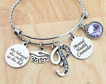 Gifts for Counselor graduates Counselor Graduate Gift Counselor Bangle COUNSELOR BRACELET 2019 College Graduation Counselor Gift