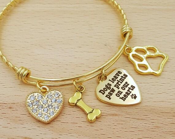 Pet Memorial Bracelet Loss of Dog Bracelet Loss of Pet Bracelet Loss of Pet Gift Loss of Family Pet Gift Pet Remembrance Jewelry Gold Bangle