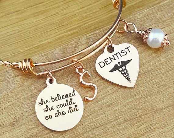Rose Gold Dentist Gift Rose Gold Dentist Graduation Rose Gold Graduation Bracelet Rose Gold Graduation Gift Graduation Gift for Dentist