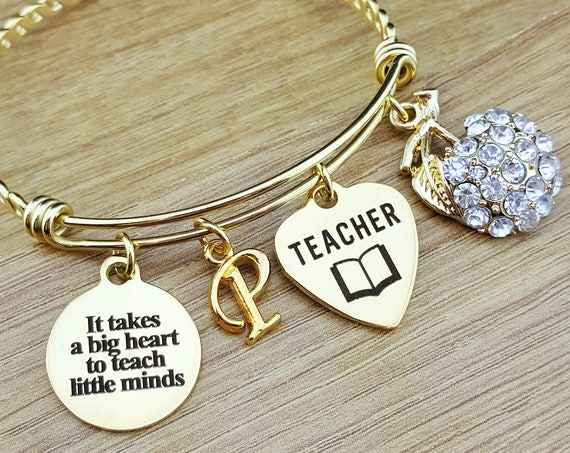 Gold Bangle Teacher Appreciation Gift Teacher Gifts Teacher Bracelet Personalized Teach Gift Gift for Teacher It Takes a Big Heart to Teach