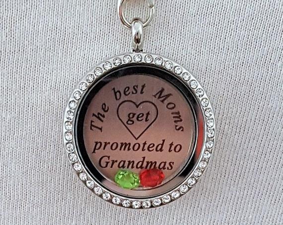 Grandma Memory Locket / Gifts for Grandma / Gift for Grandmother / Living Locket / The Best Moms Get Promoted to Grandma / Grandma Necklace