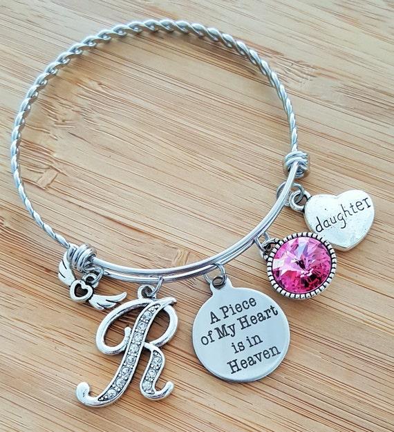 Sympathy Bracelet Sympathy Gift In Memory of Daughter Memorial Bracelet Loss of Daughter Loss of a Child Remembrance Bracelet Heart Heaven