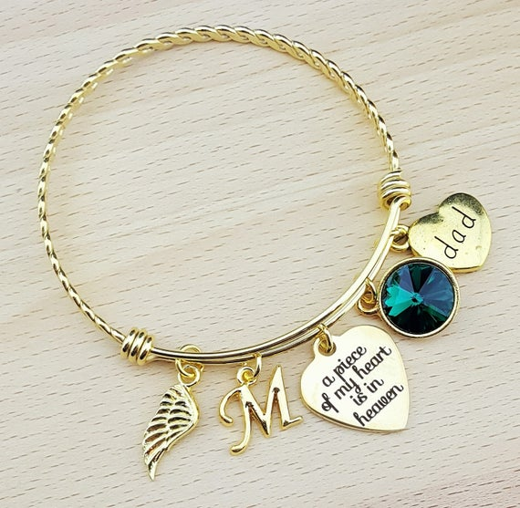 Sympathy Bracelet Sympathy Gift In Memory of Dad Memorial Bracelet Loss of Dad Remembrance Bracelet Remembrance Jewelry Loss of Father Gold