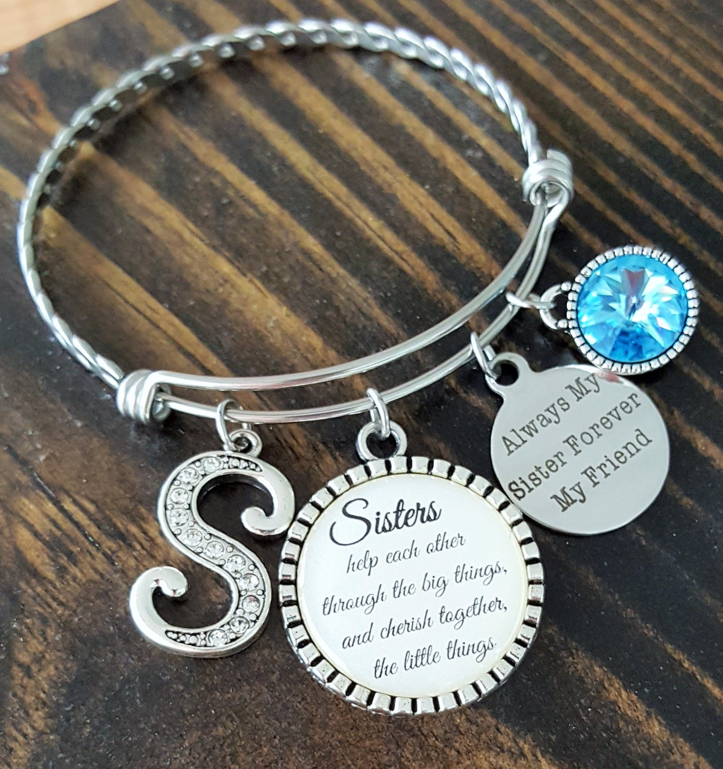 Birthday Gift For Sister Personalized Bracelet Initial Gallery Photo