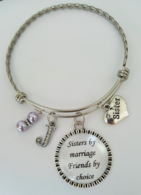 Personalized Sister Bangle / Sister in Law Bangle / Sister Bangle Bracelet / Sister Gift / Sister in Law Gift / Wedding Keepsake