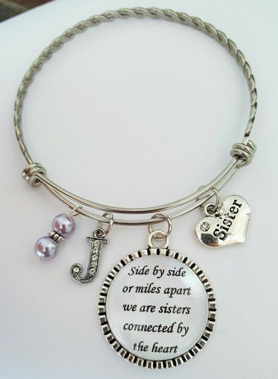 Personalized Sister Bangle / Sister Bracelet / Sister Bangle Bracelet / Sister Gift / Side by side or miles apart