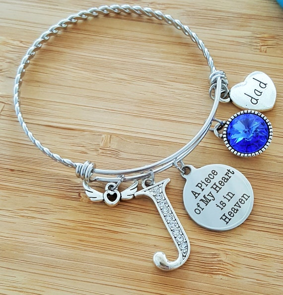 Sympathy Bracelet Sympathy Gift In Memory of Dad Memorial Bracelet Loss of Father  Remembrance Bracelet Remembrance Jewelry Heart in Heaven