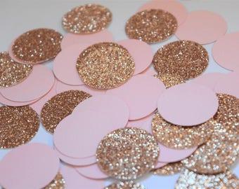 Fard à joues et confettis Or Rose, décorations en or Rose Blush, décorations de fête de fiançailles, Bridal Shower décorations, Or Rose