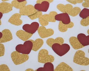 Gold and Burgundy Confetti Hearts, Engagement Party Decorations, Red and Gold Wedding Decorations, Bridal Shower Decorations, Hens Night Dec