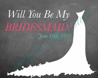 Customized** Will you be my bridesmaid card, maid of honor card