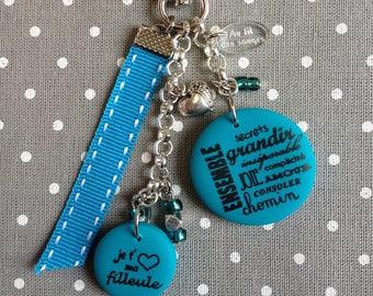 "keychain or bag charm ""set, I love my goddaughter"""
