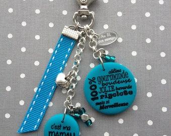 """My mom"" keychain or bag charm"