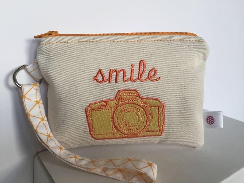 Retro Camera Coin Purse Yellow and Orange embroidered design,