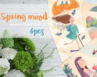 Spring Printable Greeting Cards, Digital Download Cards, Spring Mood, Holiday Greeting Cards, Postcards, Spring Mood, 6pcs