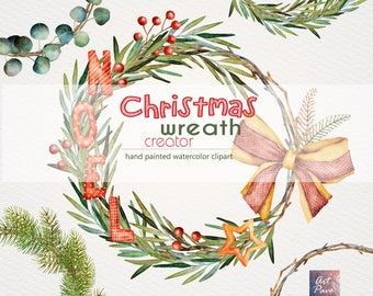 christmas wreath creator holiday decoration hand painted new year watercolor clipart pattern greeting cards wreath png files