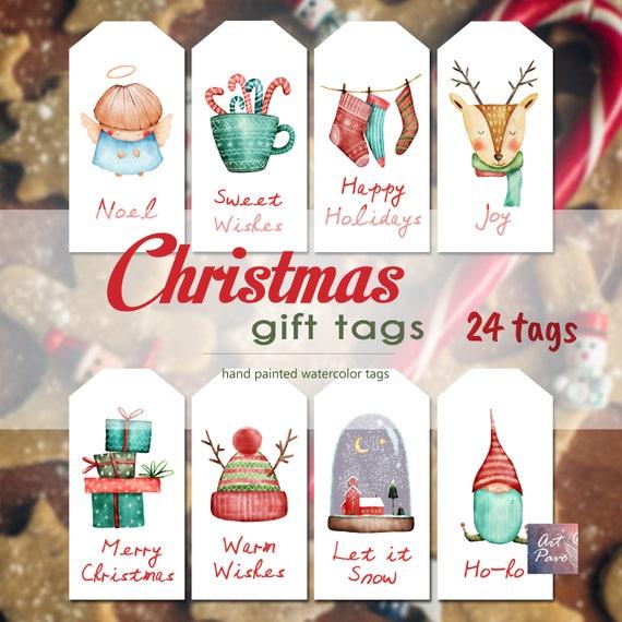 Christmas Tags.Christmas Tags Gift Tag Watercolor Christmas Tags Gift Labels Holiday Gift Tags Christmas Printable Digital Tags Present Tags Label