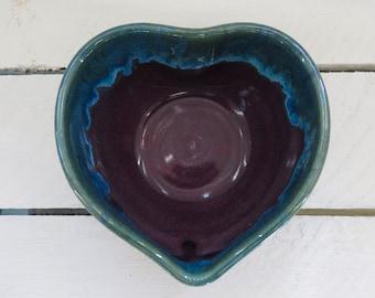 Handmade Heart Dish, Ceramic Heart Dish, Pottery Heart Dish, Trinket Dish, Heart Trinket Dish, Ring Dish, Handmade Ring Dish, Purple Heart