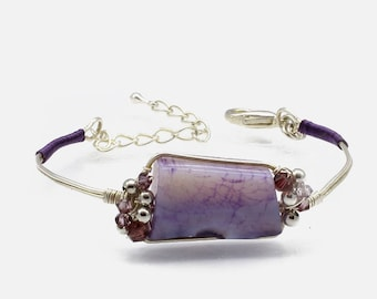 bracelet // agate teinted // Swarovski // copper