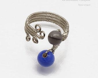 """Wire weaving // unique piece // ring """"duo de tête"""" // glass beads"""