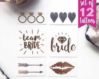 Team Bride  and Bride bachelorette tattoos Set with extra tattoos / ring tattoo / hearts / arrow / lips