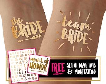 Team Bride bachelorette tattoos / temporary tattoo tato tatoo / summer wedding / beach party / reno party