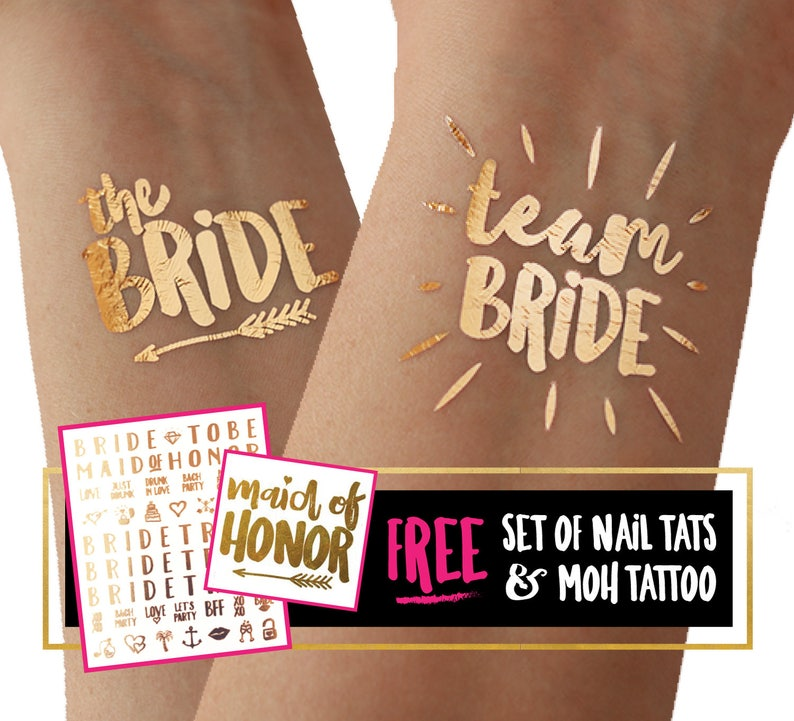 Team Bride bachelorette tattoos / temporary tattoo tato tatoo image 1