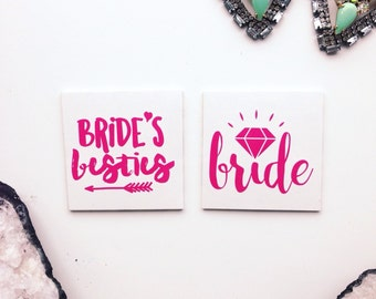 Hot Pink tattoos / BRIDE'S BESTIES and BRIDE / Bach tattoos / gold temporary tattoo / bachelorette party set of 8 tats / hens party