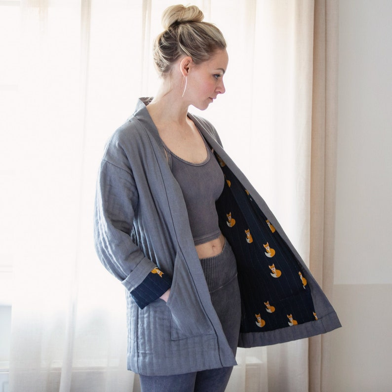 Sewing Pattern PDF  Chiono Quilted Long and Crop Jacket / image 1