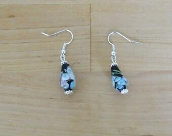 black Indian bead drop earrings