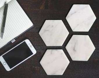 Italian Marble Hexagon Coasters ** Set Of 6 **