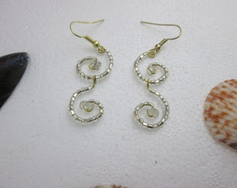 Clear Glass Beads Curly Earrings