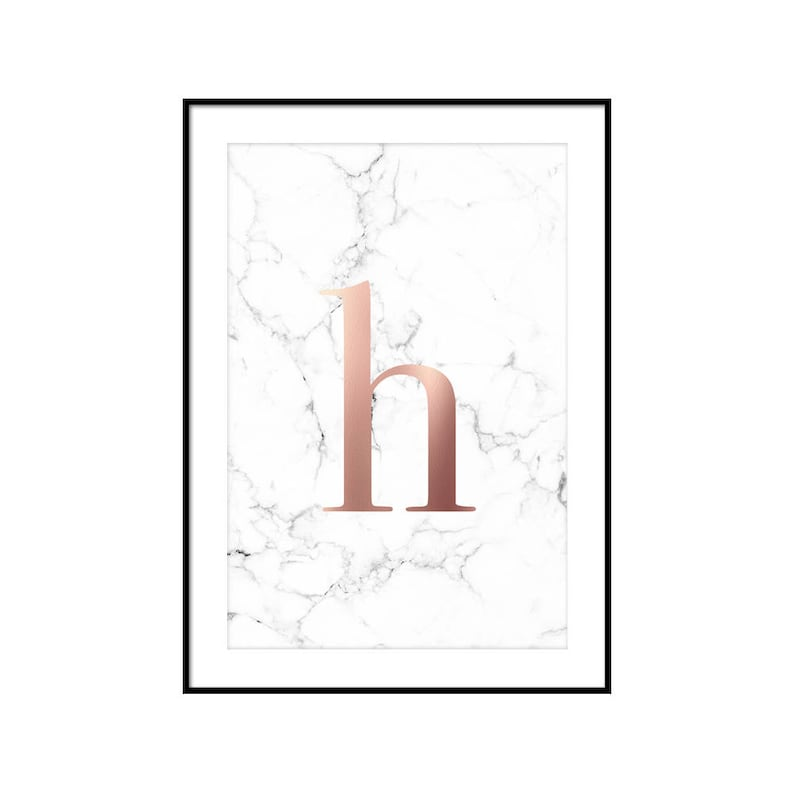 image about Letter H Printable identified as marble and rose gold print, letter h printable, rose gold marble decor, marble poster prints, rose gold marble monogram, downloadable prints