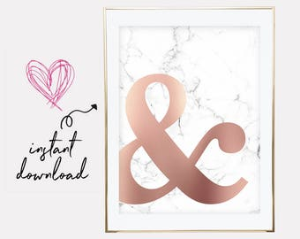 rose gold marble print, ampersand print, marble and rose gold print, copper marble print, marble poster prints, downloadable prints