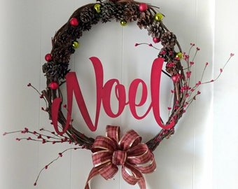 Country Christmas Wreath / Red Noel Wreath w Plaid Bow / Farmhouse Rustic Wreath / Christmas Gifts / Pinecone wreath / Grapevine Pip Berries