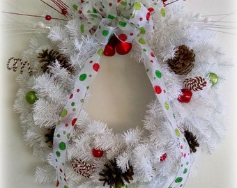 Red White and Green Whimsical Christmas Wreath / Large Wreath / White Wreath / Winter Wreath / Front Door Wreath / Pinecones / Polka dots