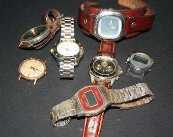 Lot of 7  Men's Watch Pieces, Destash Assemblage Watch Parts, Steampunk, Mixed Media Supplies, Old Watch Parts, Industrial  Re-purpose