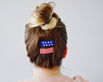 4th of july hair clips for girls hair clips for infant stars and stripes hair accessory independence day red white blue toddler hair clips