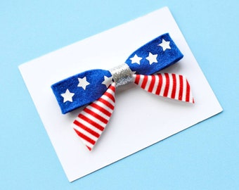4th of july hair bow clip stars and stripes bow independence day hair accessory white blue red hair clip toddler sailor hair bow infant