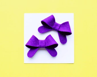 Pigtail bows for girls purple pigtail hair bows purple hair accessory simple hair bows baby snap clips summer hair bow for toddler pig tails