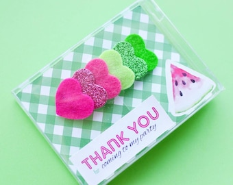 Watermelon party favors for girls fruit birthday party hot pink and green hair clip for infant thank you for coming to my party gifts