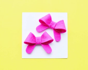 pink pigtail bows pig tail bow clips pink hair bow clips baby snap clip pink felt hair clips for girls infant hair clips pink simple bows