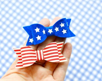4th of july pigtail bows baby hair clips stars and strips pig tail bows fourth of july hair bow infant hair clips red white blue hair clips
