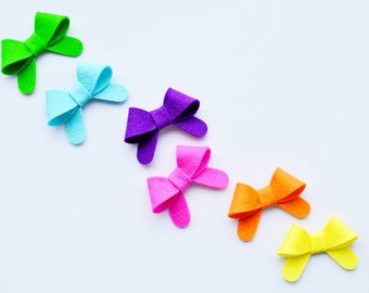 Summer hair bows for girls snap clips colorful hair bow for baby bows bright hair clips for infant hair clips simple bows felt hair clip