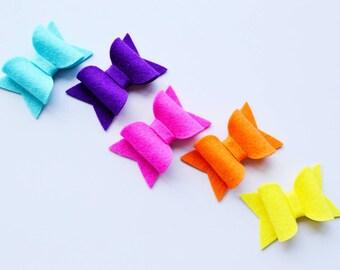 Hair bows for girls snap on hair bow clips rainbow hair accessory simple bows for infants felt hair clips infant hair clips girls snap clips