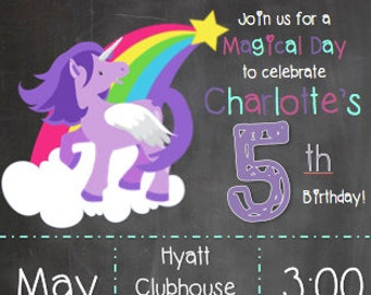 Unicorn Birthday Invitation - Digital Download