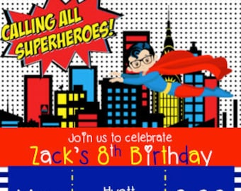 Superhero Birthday Invitation - Digital Download
