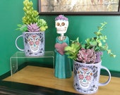 Halloween Succulent Planter, Purple Sugar Skull Mug, Seasonal Artificial Succulent Planter, Desk Accessory
