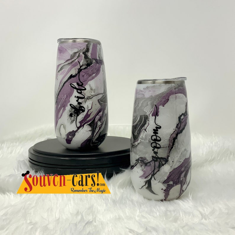 6oz Stainless Steel Champagne Flutes Set of 2 Bridal Set image 0