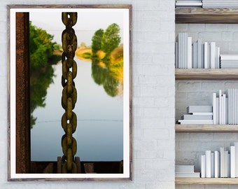 Industrial Chain, Abstract Nature Art, Chain photo print, Lake nature print, unique lake print, abstract art print, abstract wall art, large